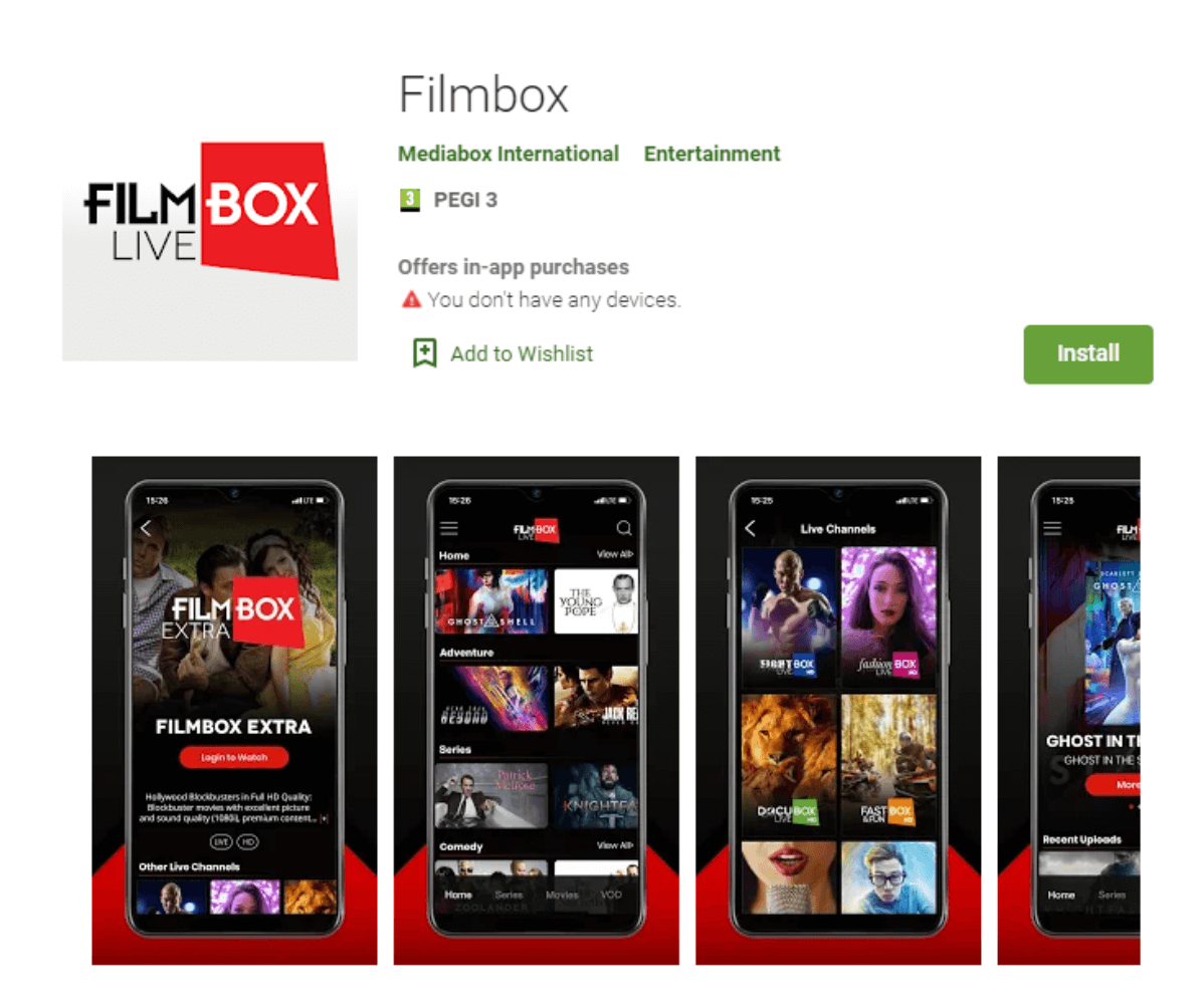 Filmbox Live Google Play Store