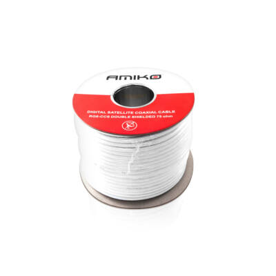 Koax kábel RG6 acél Dualshield 100m -es dob, fehér
